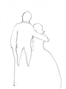 Back view of couple